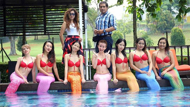 Rojin Shakya with Miss Mermaid Singapore 2016